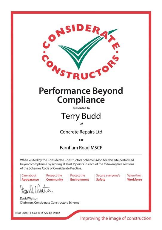 Crl S Farnham Road Site Awarded Performance Beyond
