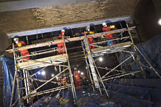CFRP being installed on the London Underground